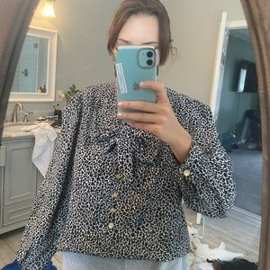 Vintage animal print blouse